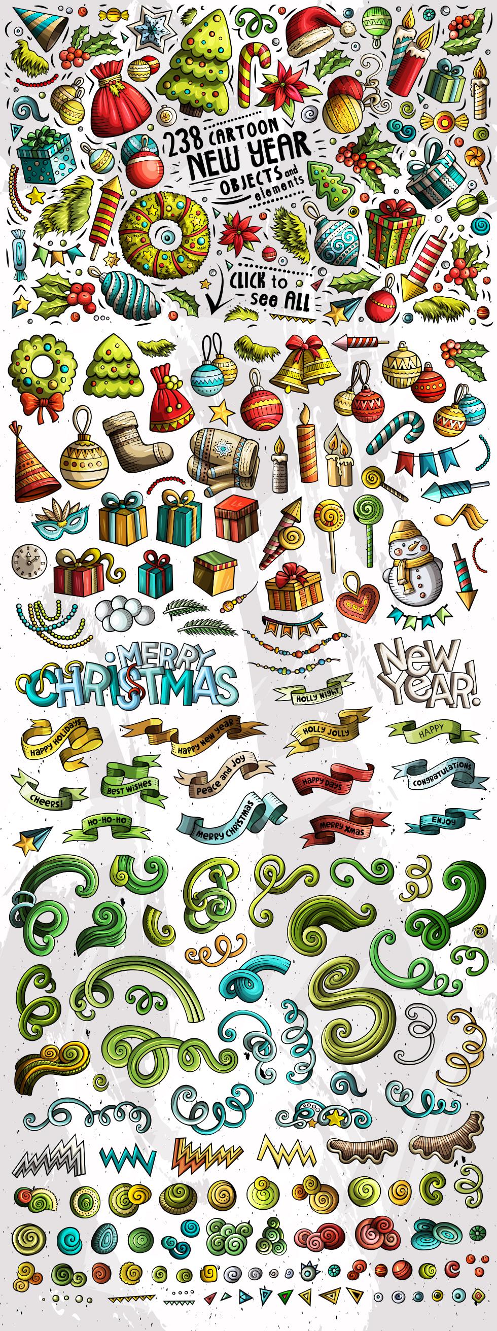 New Year Cartoon Objects Set example image 3