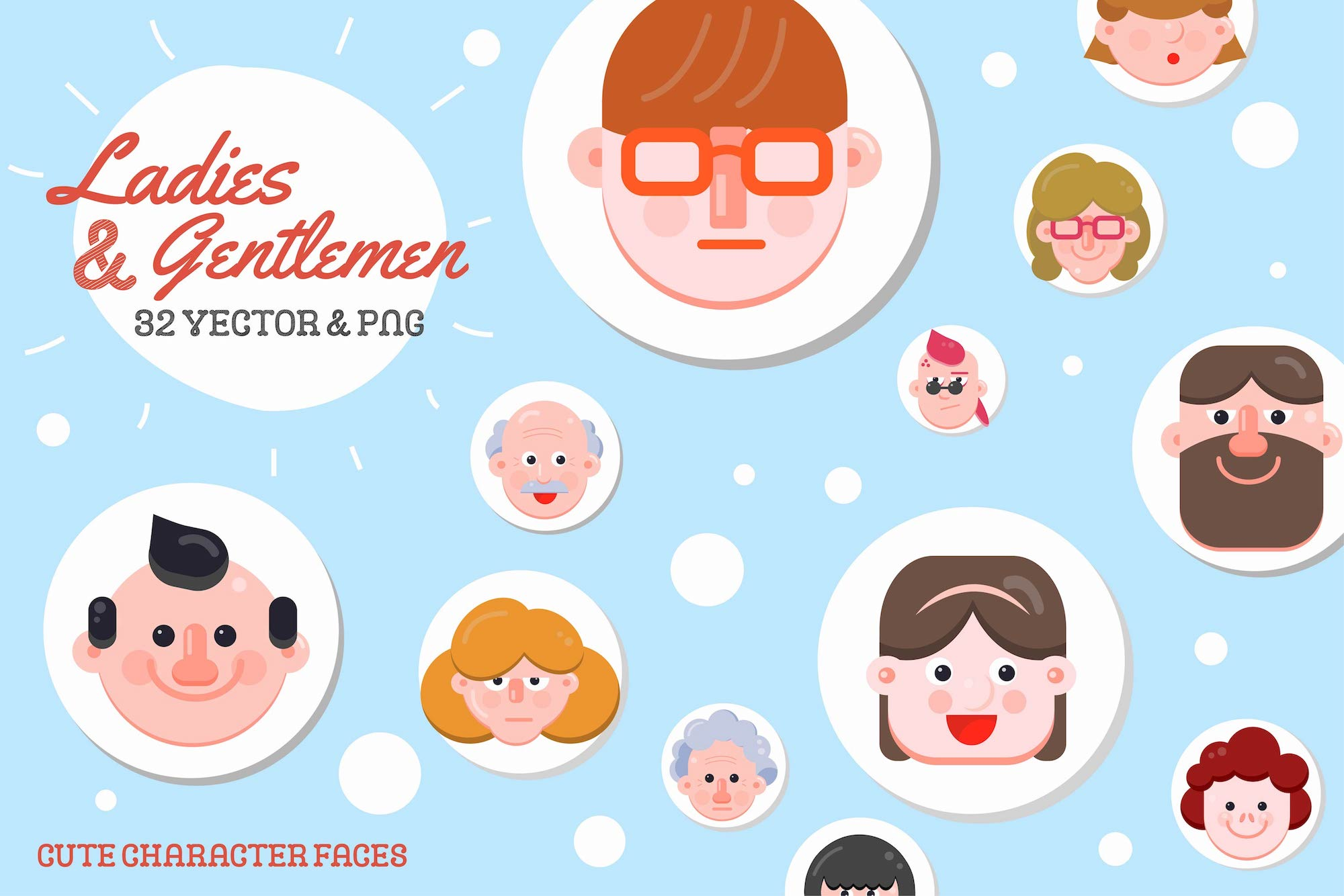 32 Character Faces - Flat Art example image 1