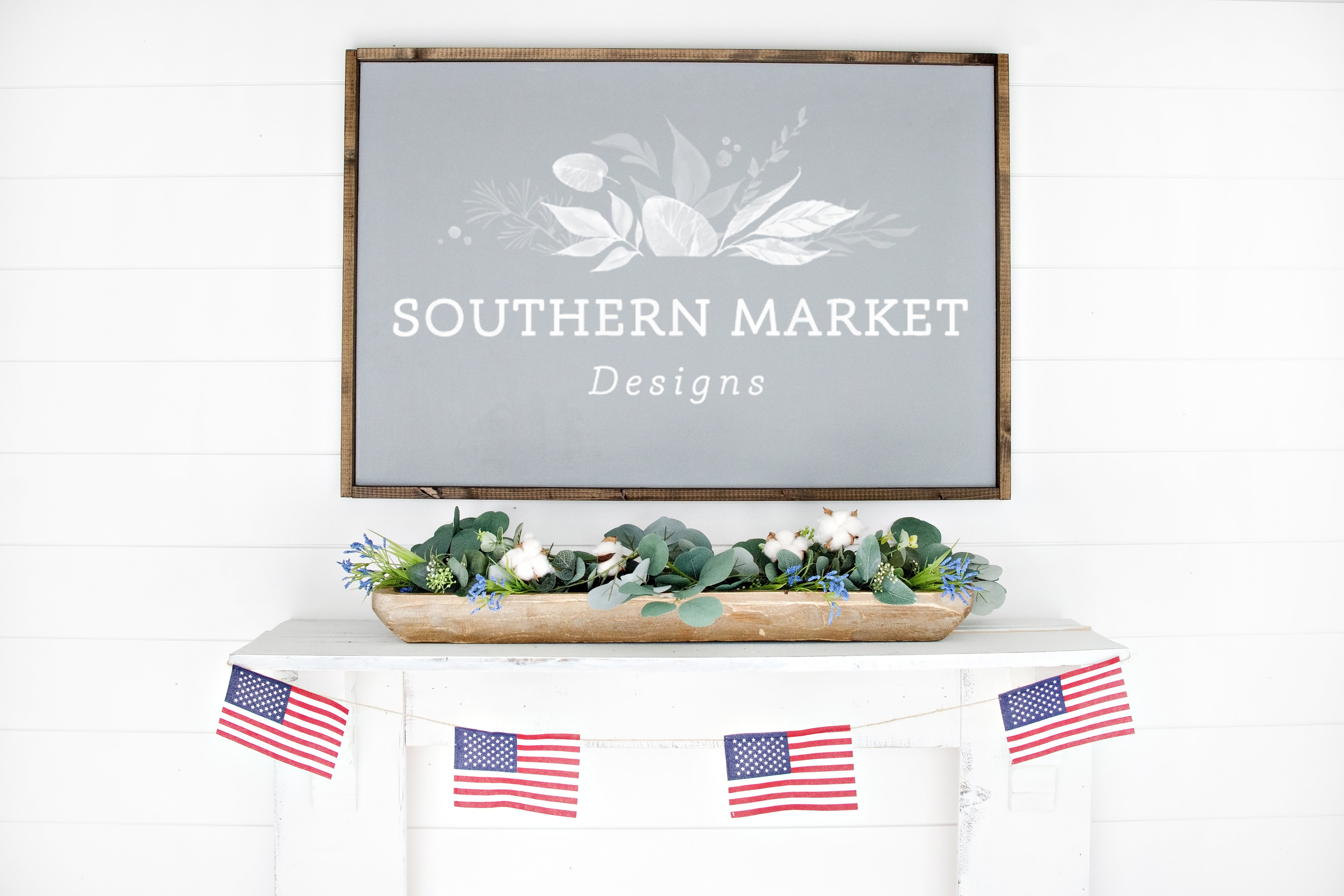 Patriotic Summer Wood 24x36 Sign Mock Up Stock Photo example image 1