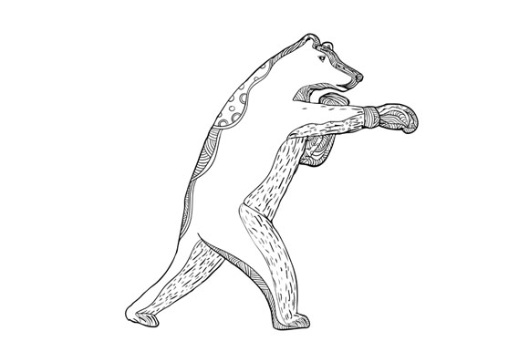 Grizzly Bear Boxing Doodle Art example image 1
