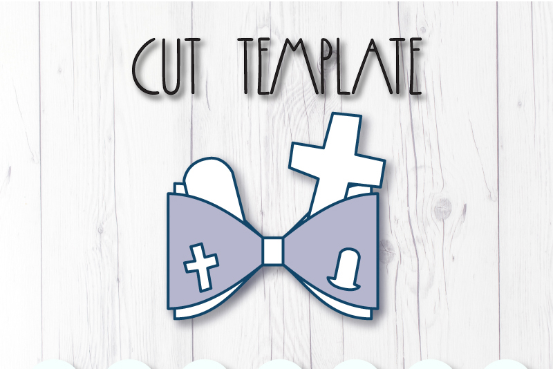 Cemetry Hair bow template SVG, DIY leather bow template example image 2