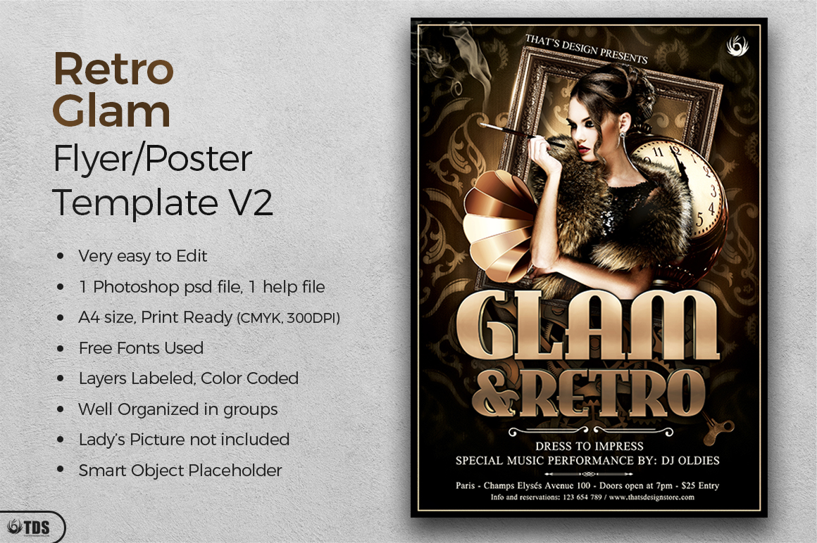 Retro Glam Flyer Template V2 example image 2