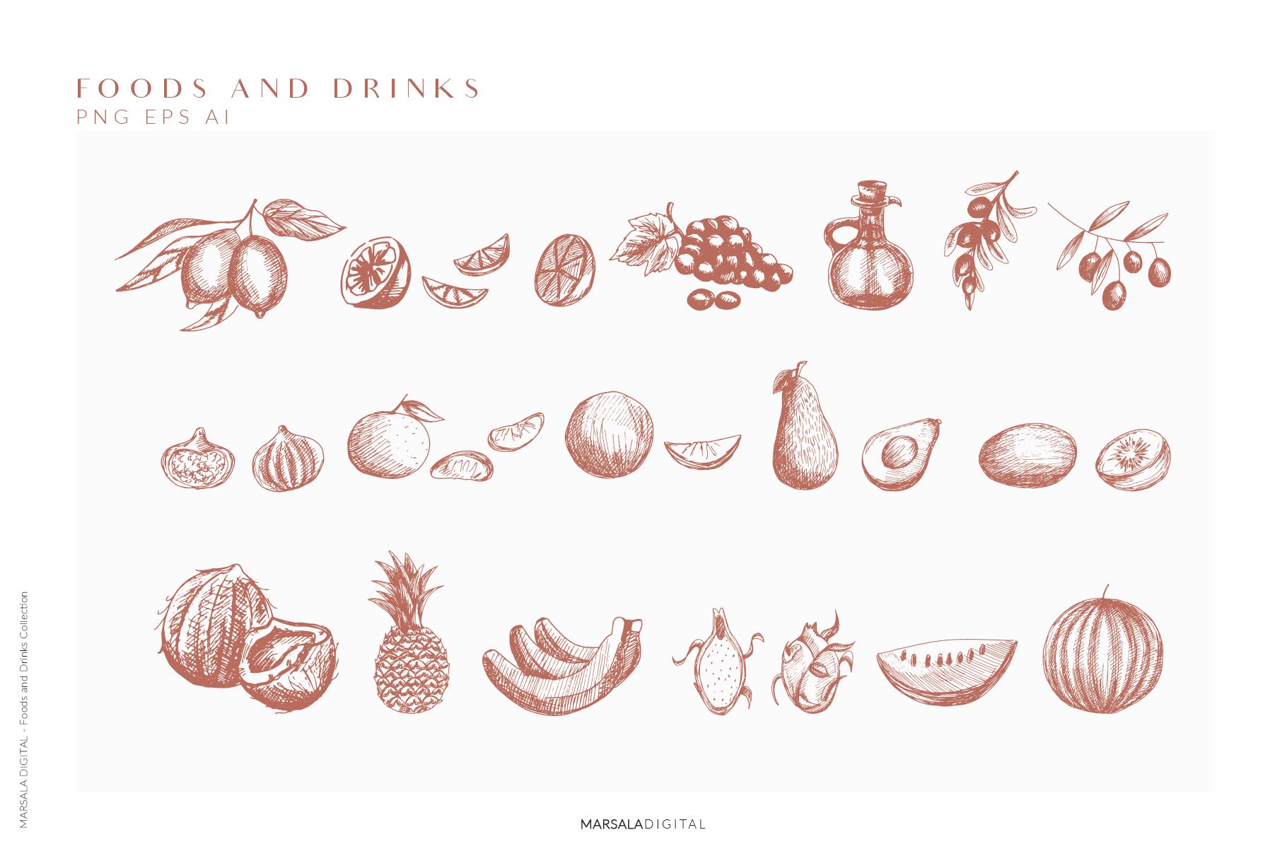 Foods & Drinks Logo Elements Handrawn Graphics example image 8