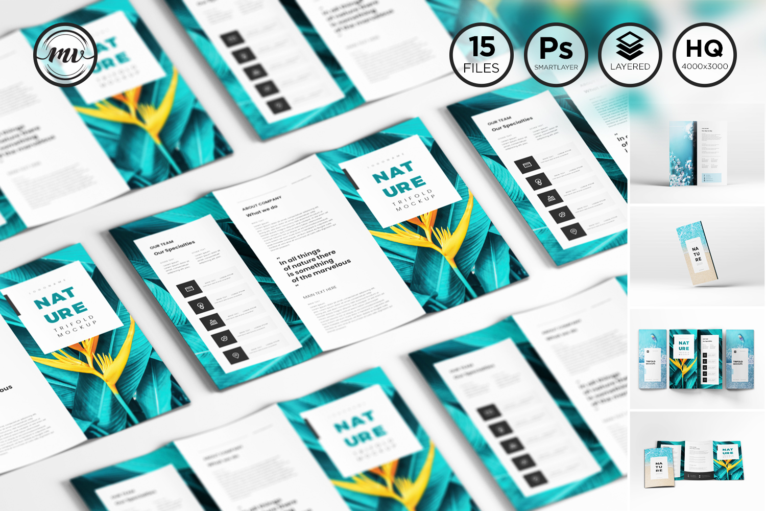A4 Trifold Mockups V3 example image 1