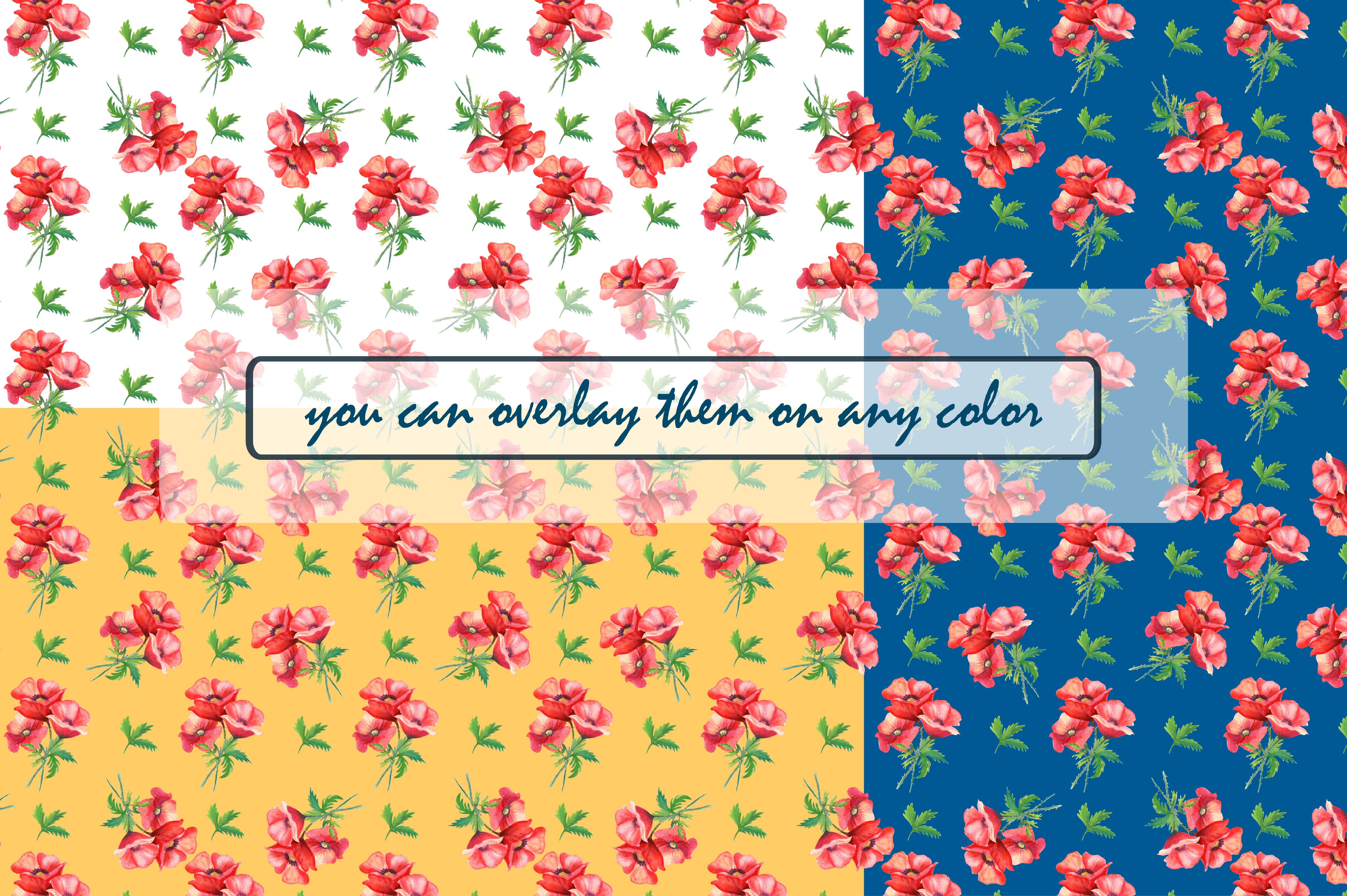 Watercolor poppies.Seamless Patterns. example image 2