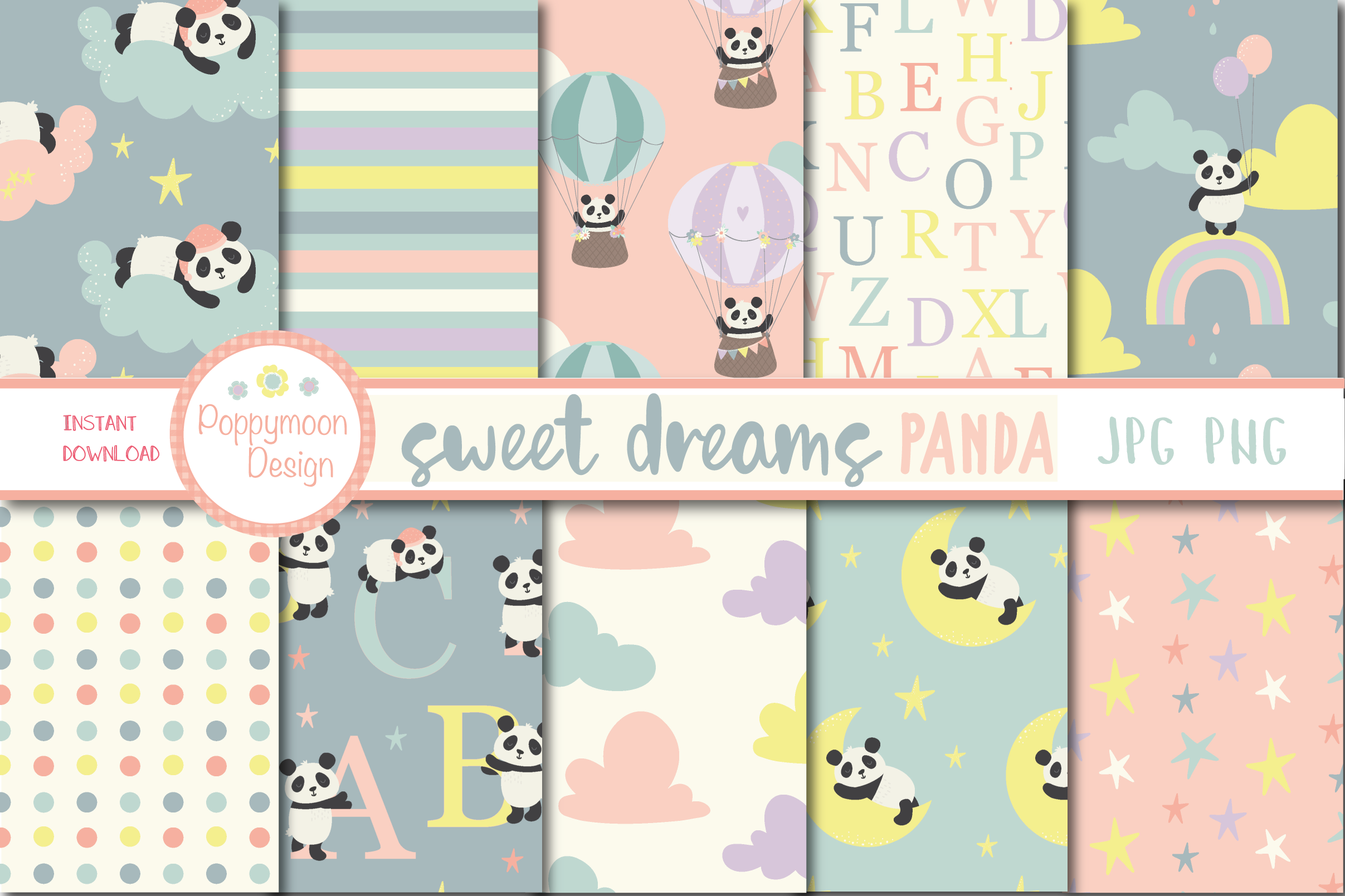 Sweet Dreams Panda, clipart and paper pack example image 4