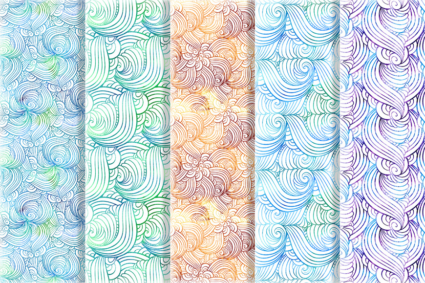 Vibrant waves seamless patterns set example image 4