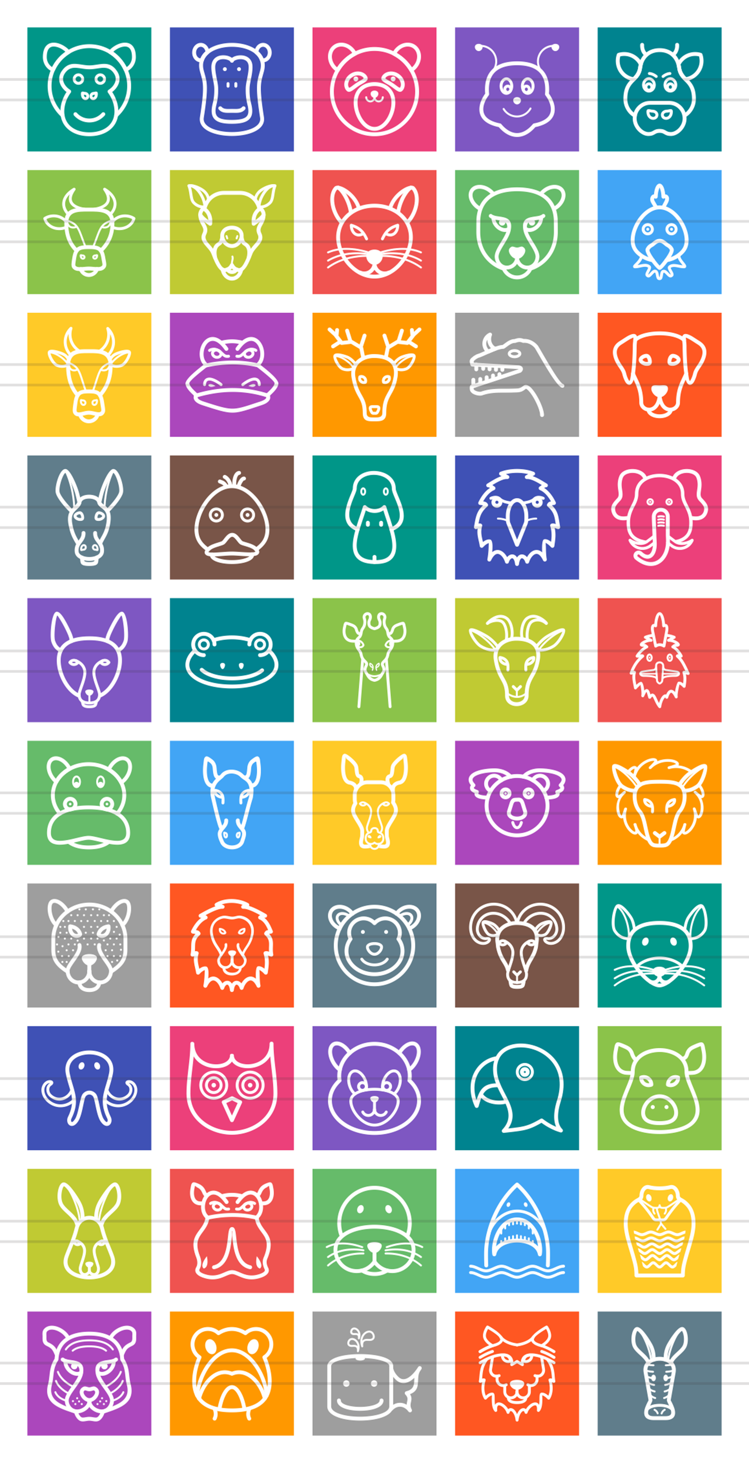 50 Animal Faces Line Multicolor B/G Icons example image 2