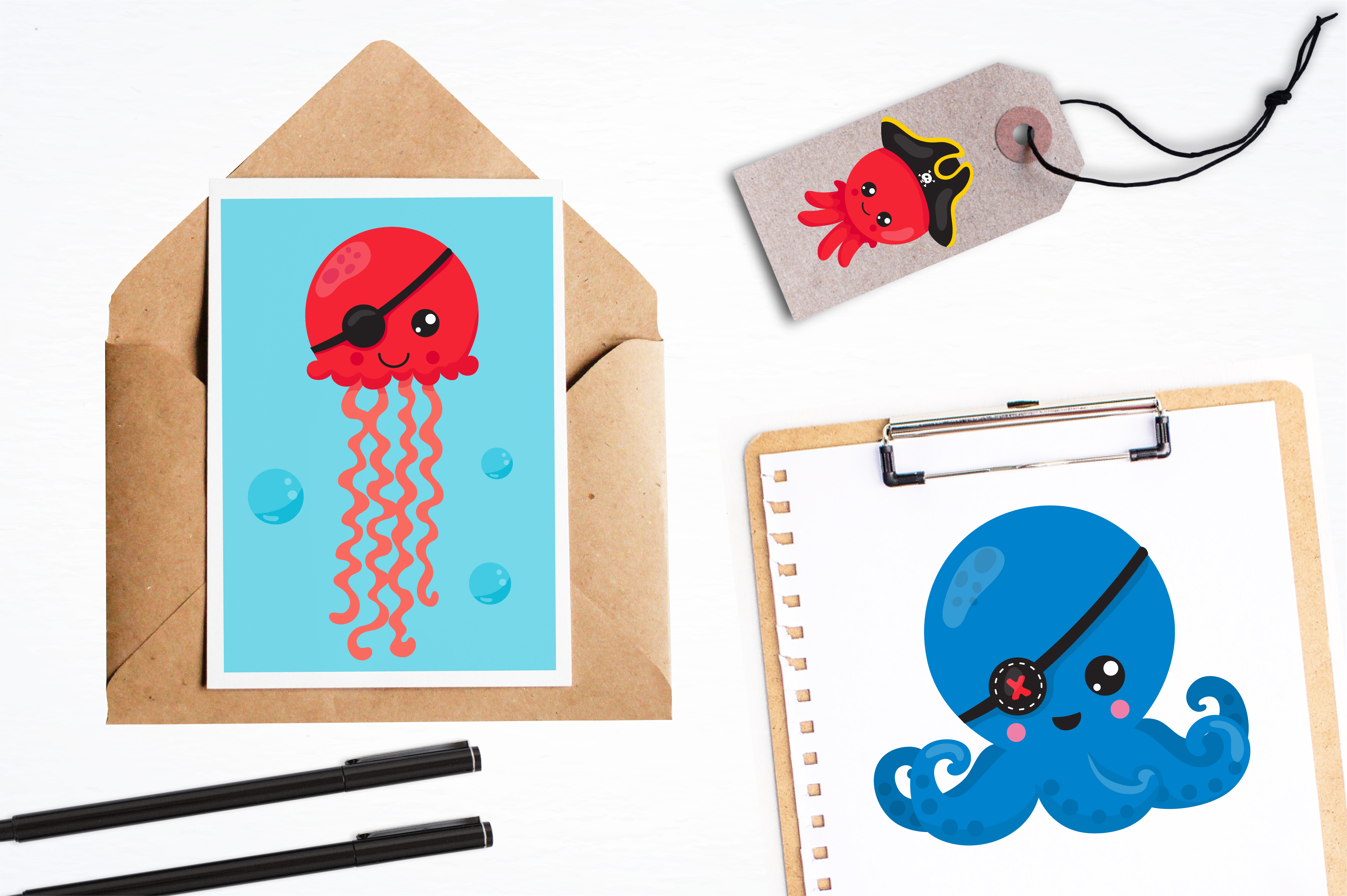 Pirate octopus graphics and illustrations example image 4