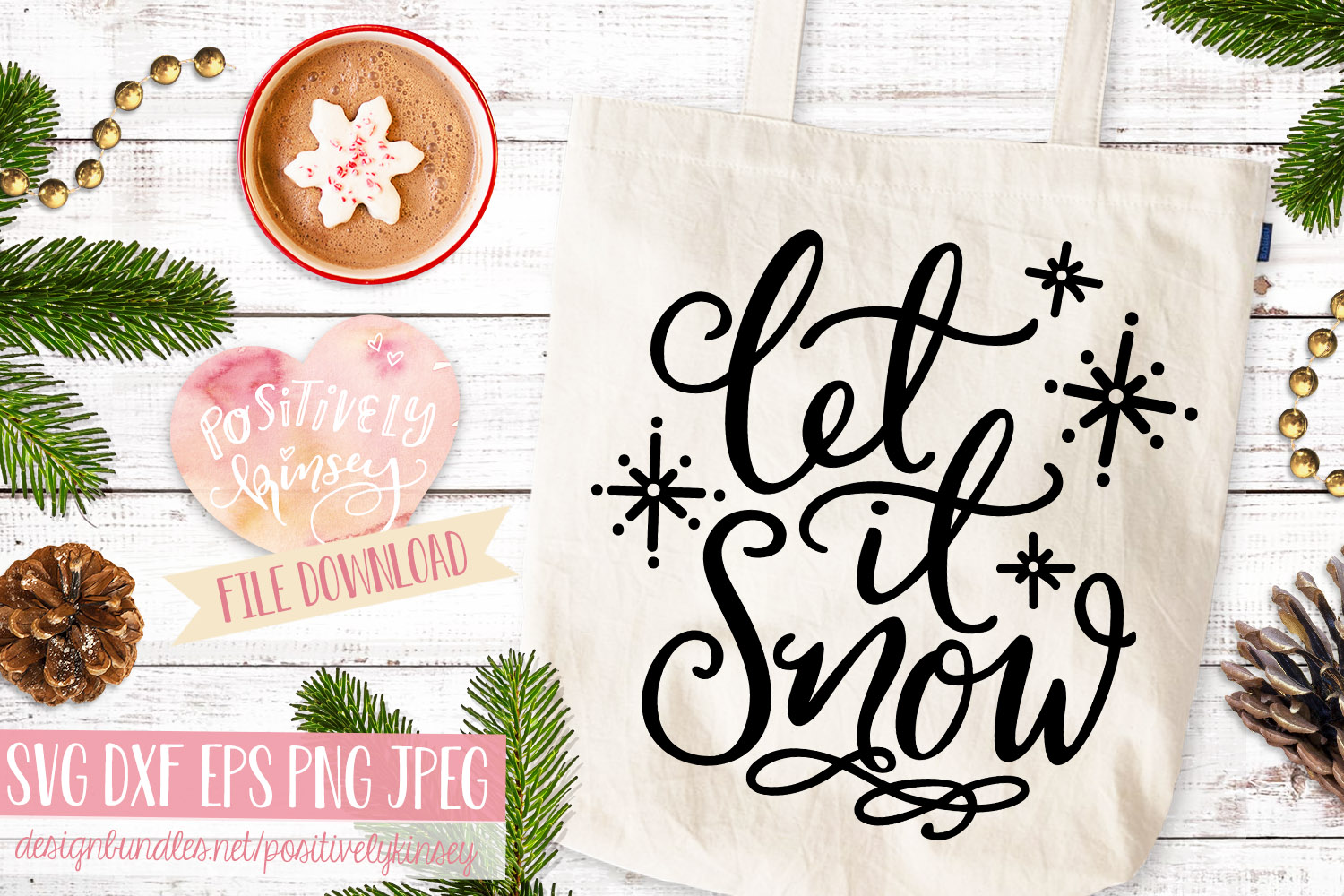 Let it Snow SVG Christmas Quote SVG DXF PNG EPS example image 3