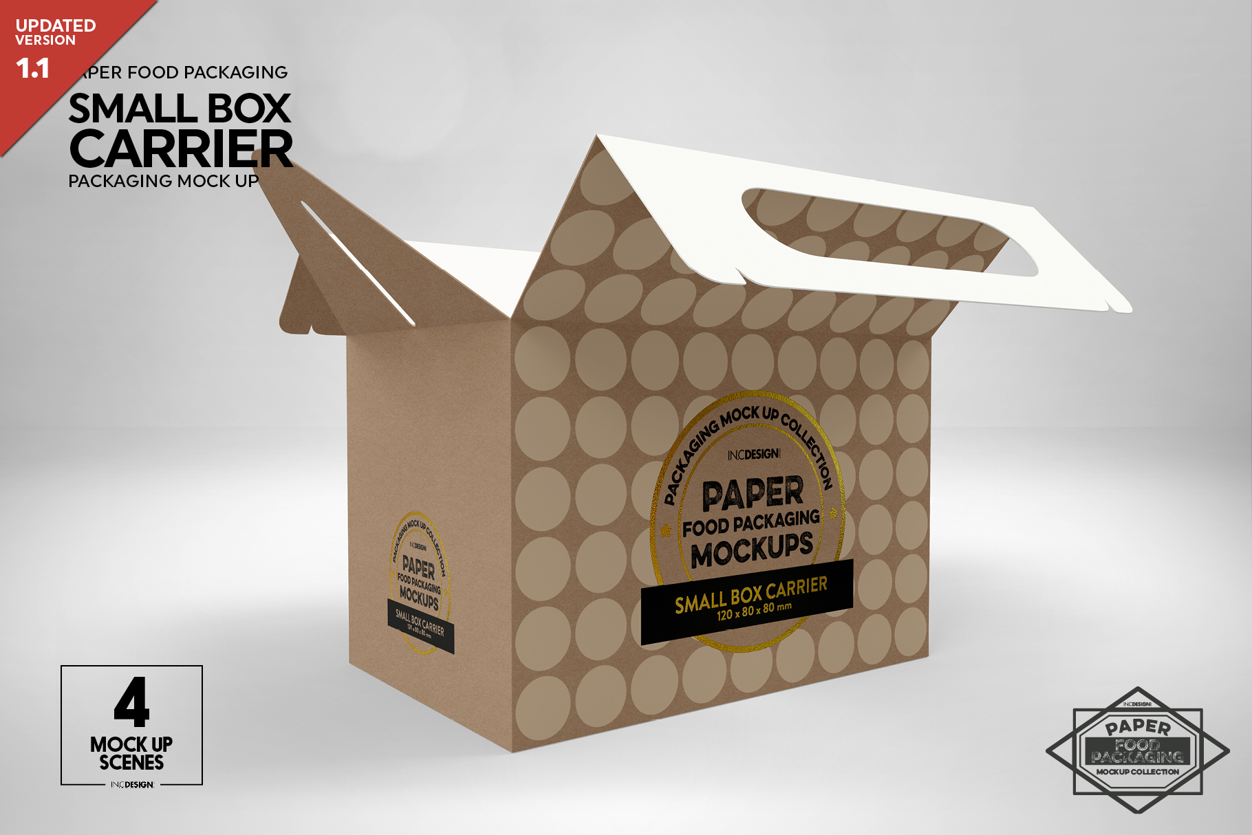 Small Cake Box Carrier Packaging Mockup example image 1