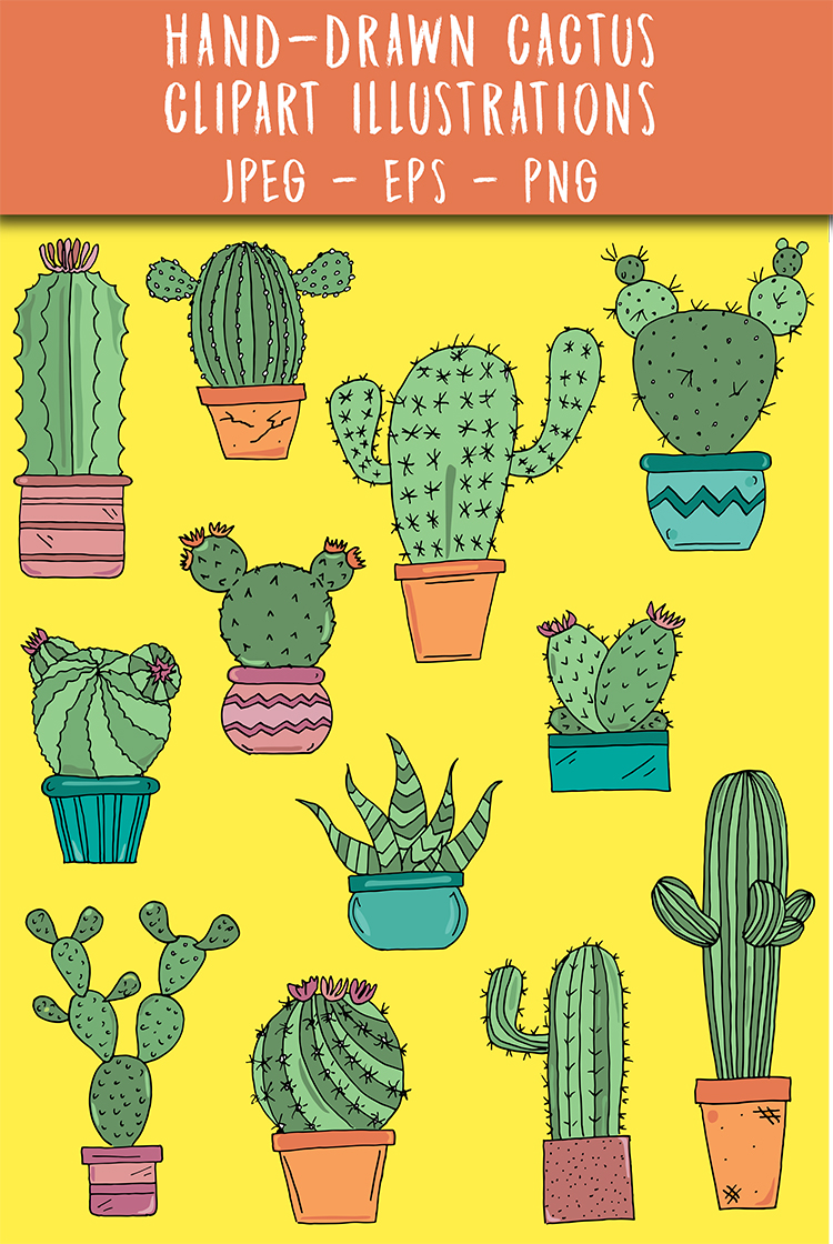 Hand Drawn Cactus Clipart Illustrations Pack PNG JPEG EPS example image 5