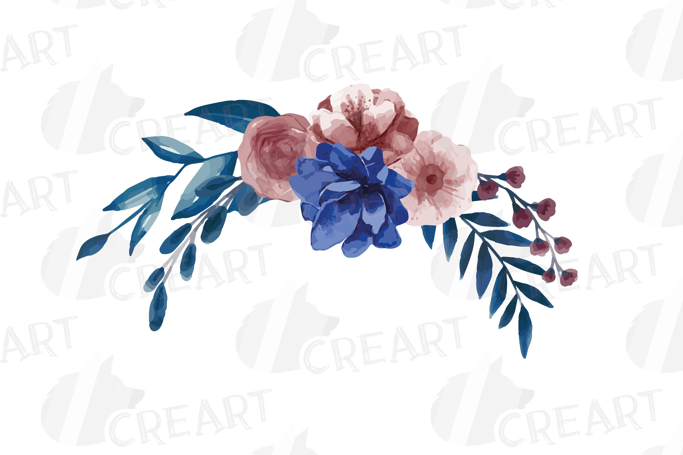 Navy blue and blush pink floral watercolor bouquets clip art example image 7
