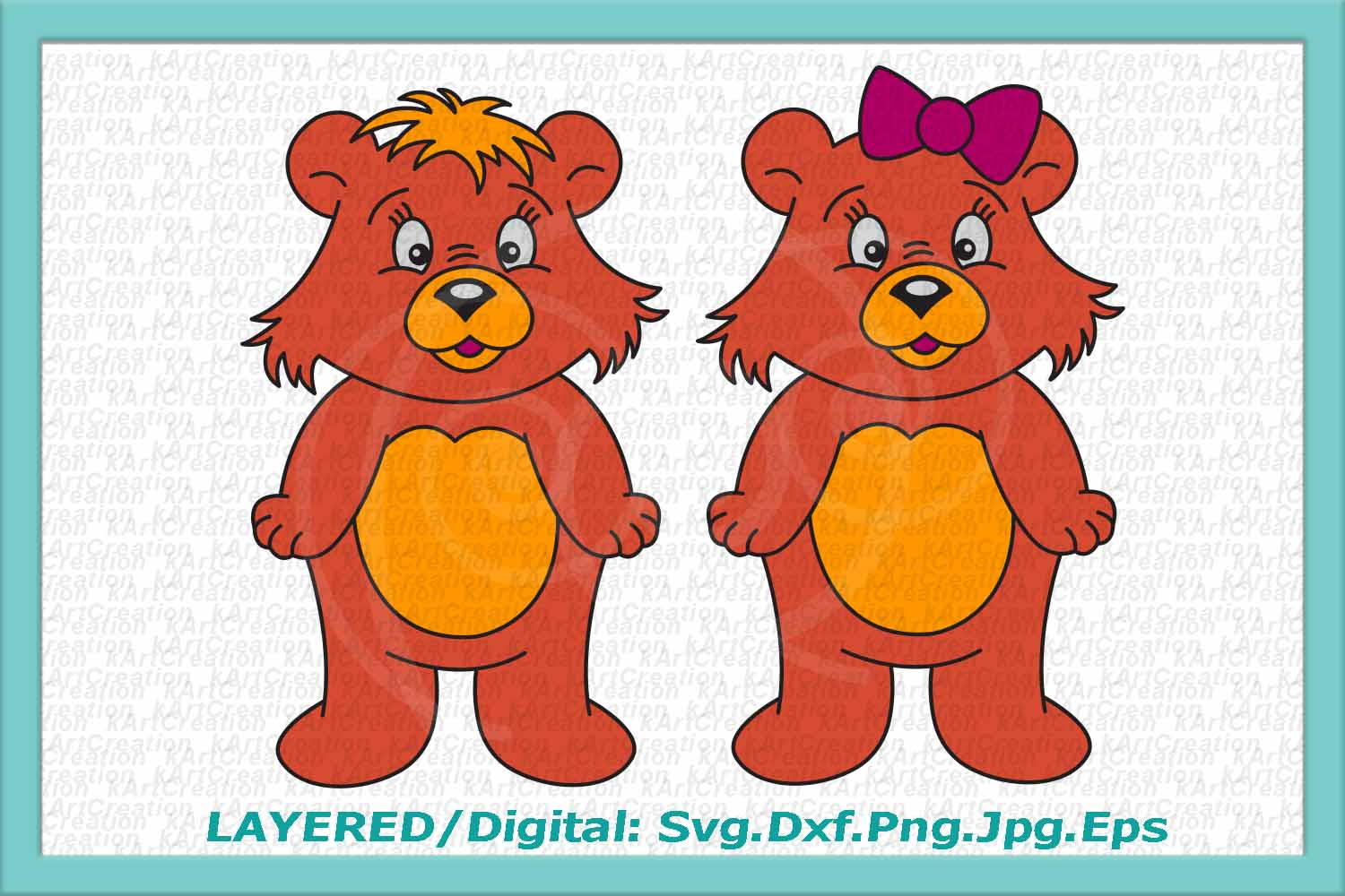 bear svg, cute bear svg, cute bear clipart, bear boy girl example image 1
