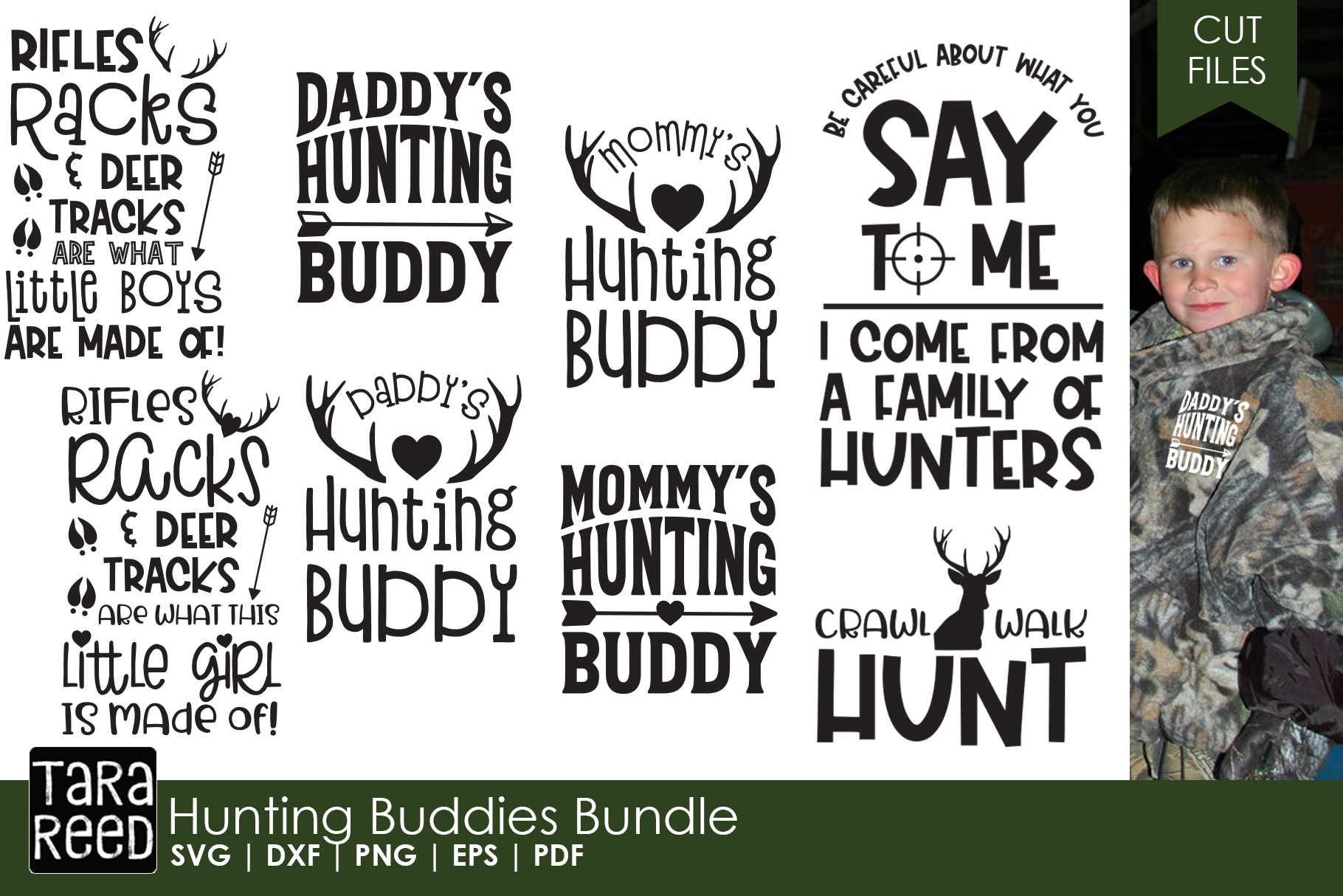 Hunting Buddies - Kids Hunting SVG and Cut Files for Crafter example image 1