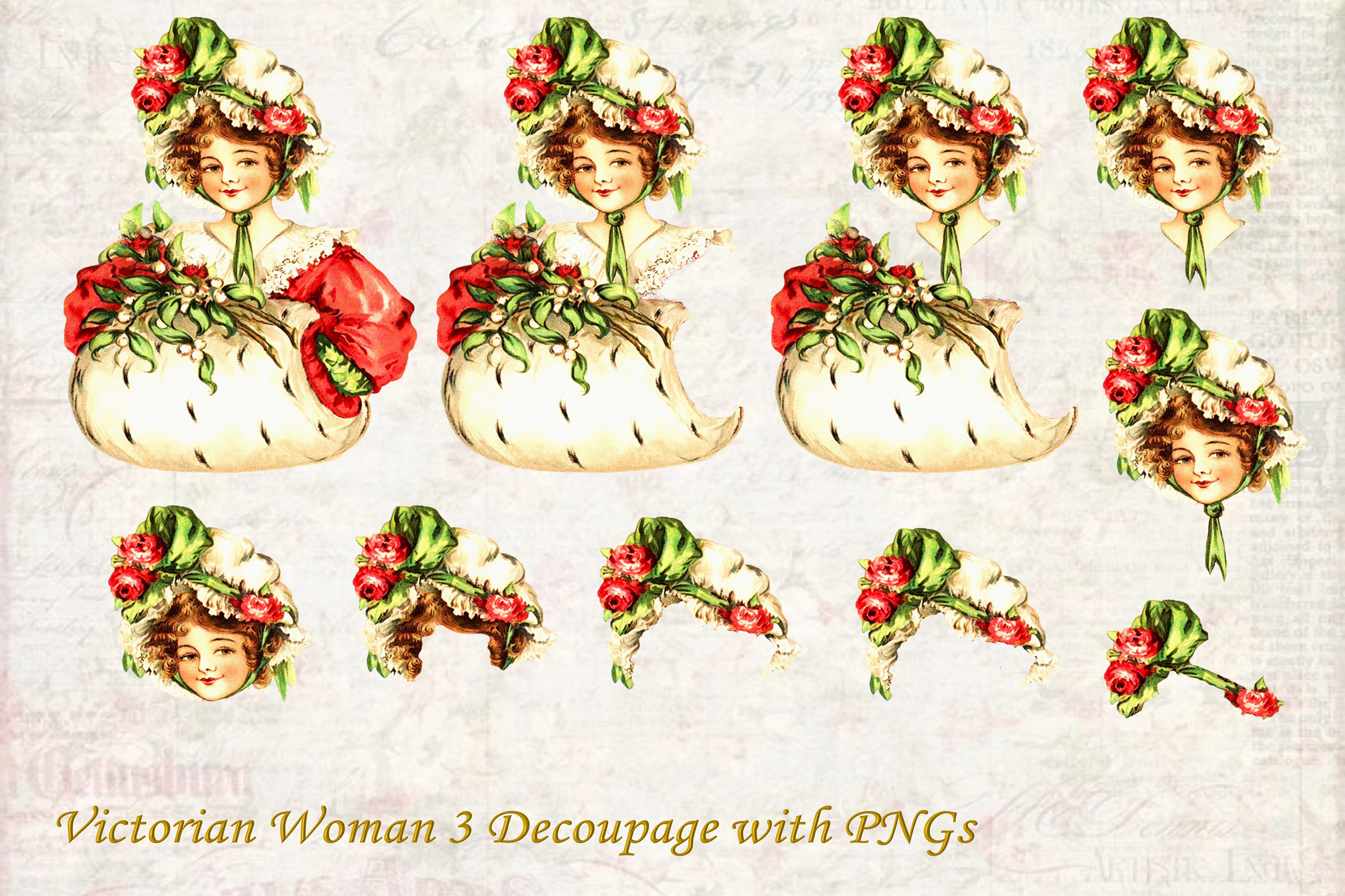 Vintage Victorian Decoupage or Collage Printable and PNG example image 1