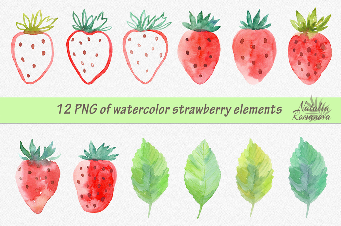 Strawberry watercolor design example image 2