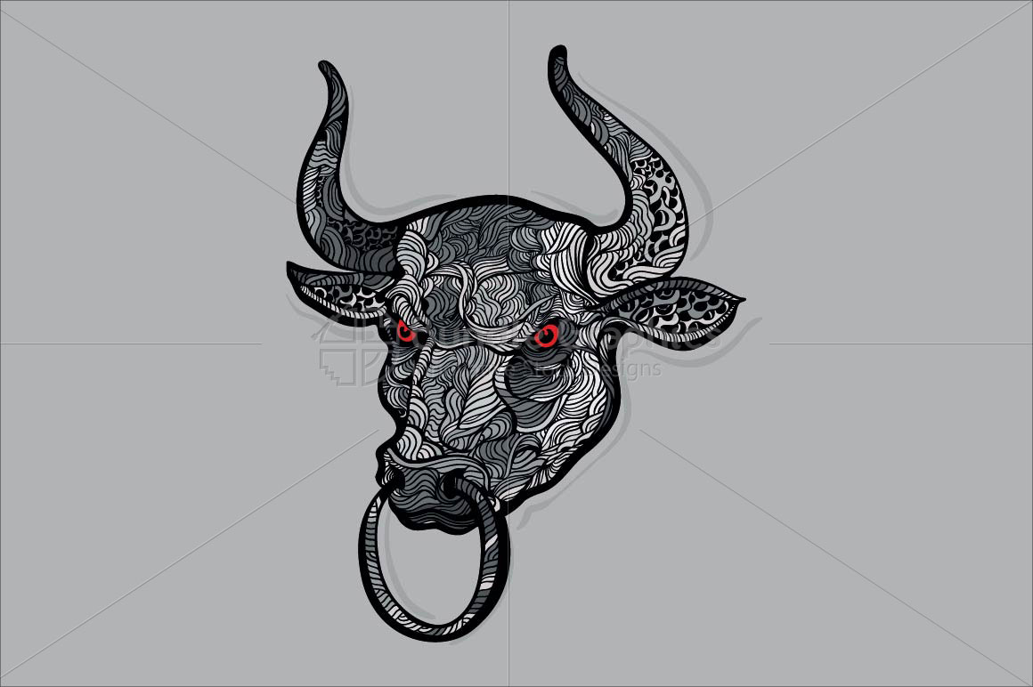 A Bull - Linear Style Aggressive Animal  example image 2