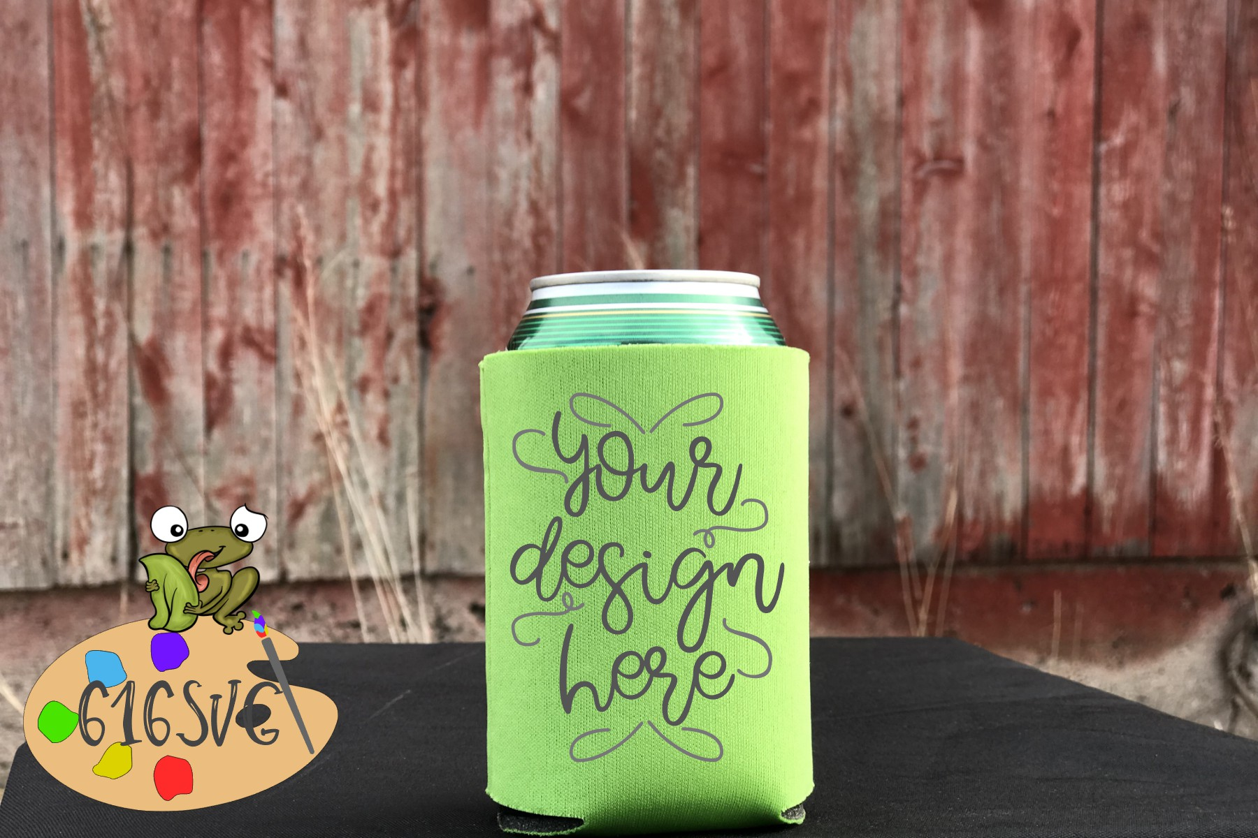 Neon Green Can Cooler Mockup example image 1
