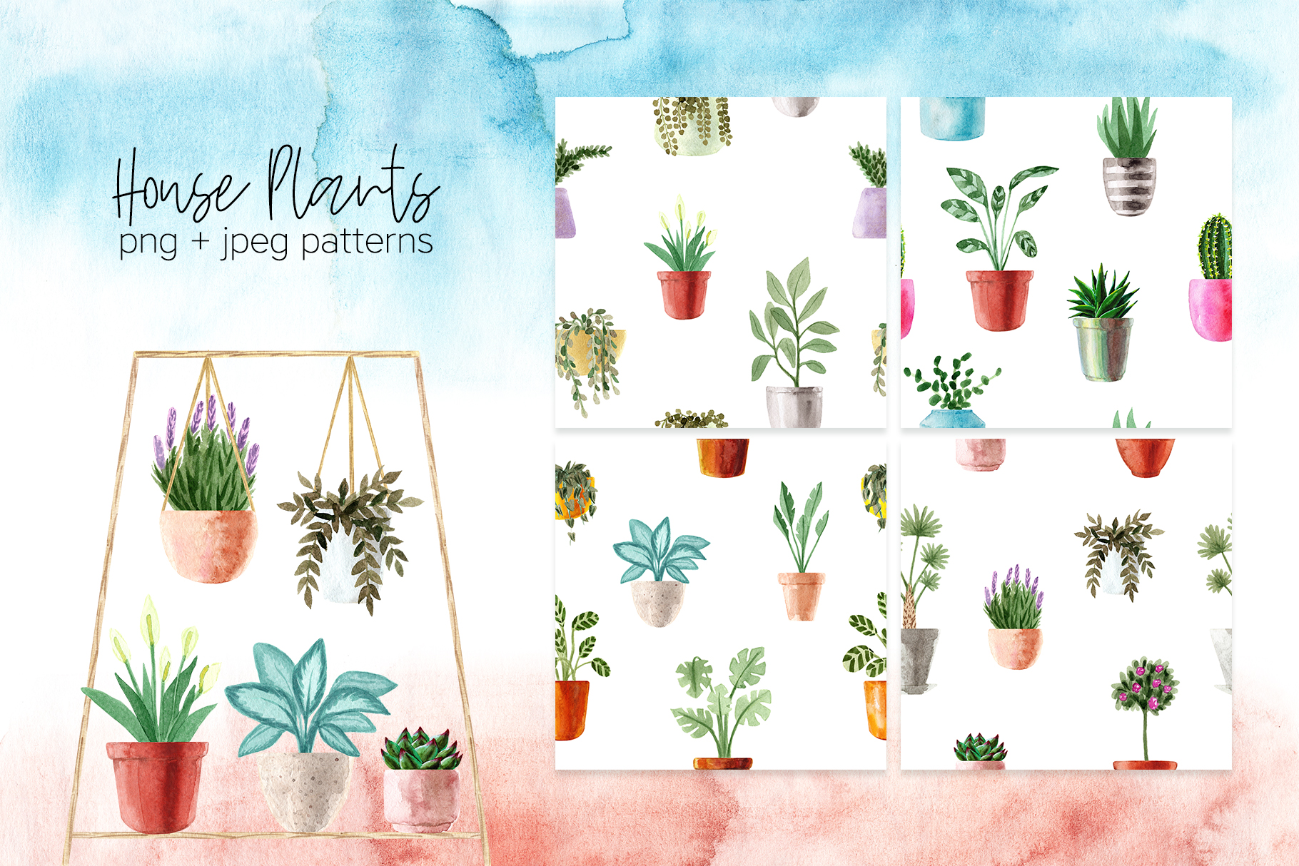 Watercolor House Plants Patterns example image 3