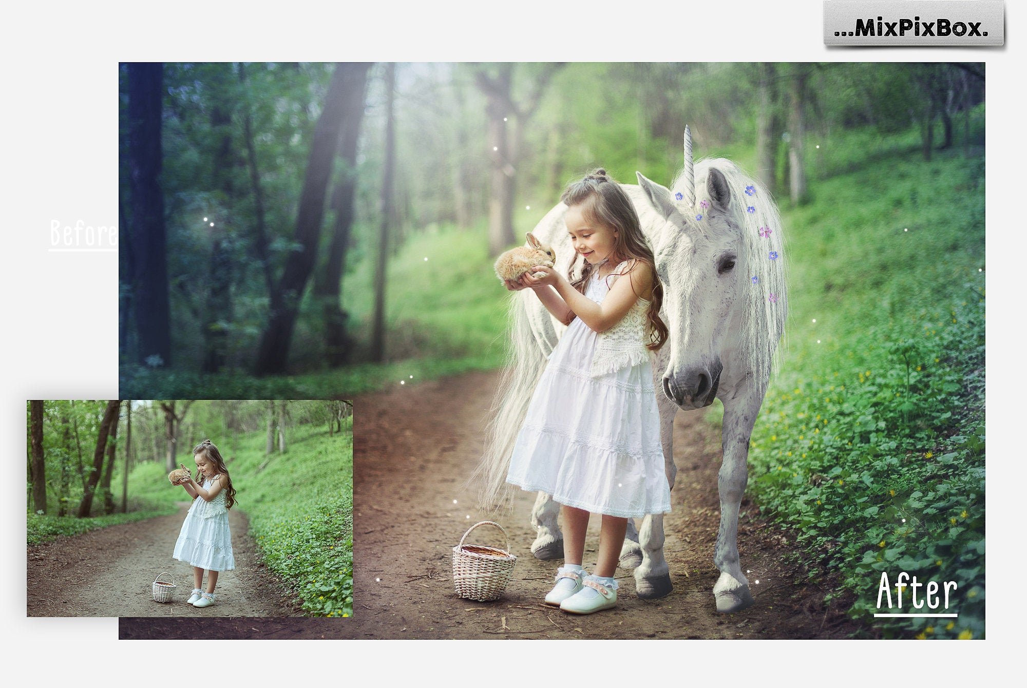 Unicorn PNG Overlays and Backdrops Pack example image 2