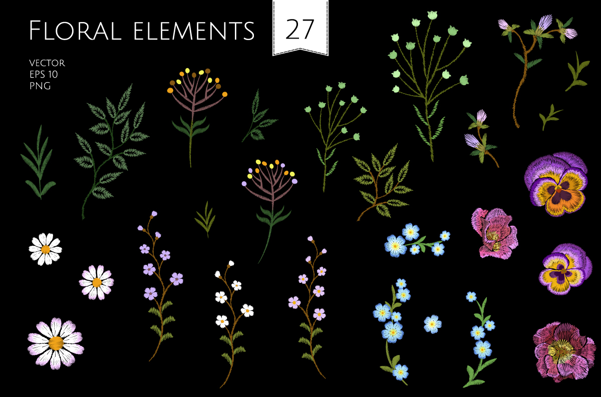 Tiny Flowers Vector Embroidery Print example image 4