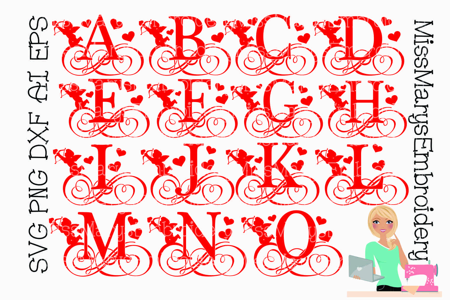 Cupid Swirl Letters SVG Cutting File PNG DXF AI EPS example image 2