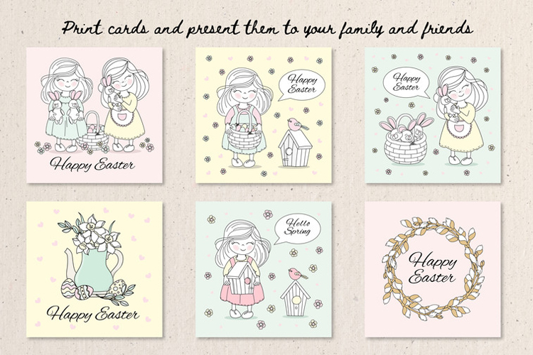 HAPPY EASTER Seamless Pattern Vector Illustration Set example image 3