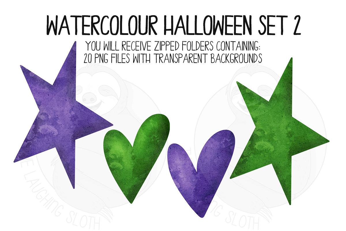 Watercolor Halloween Clip Art Set 2 example image 4