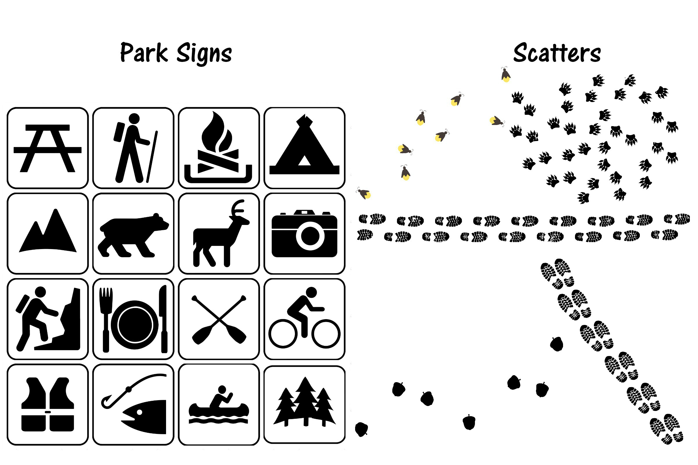 Camping Doodles & Silhouettes Mega Bundle AI EPS PNG example image 5