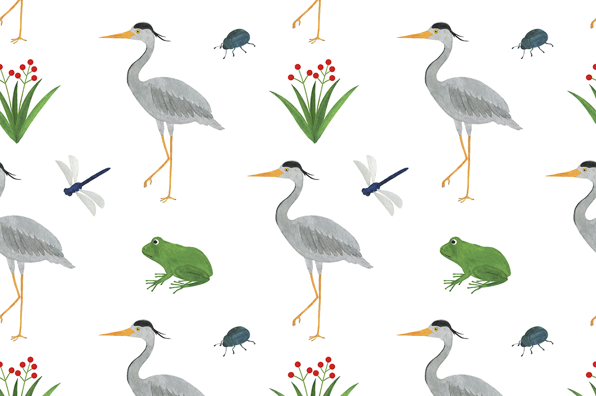 Set of heron watercolor illustrations example image 15