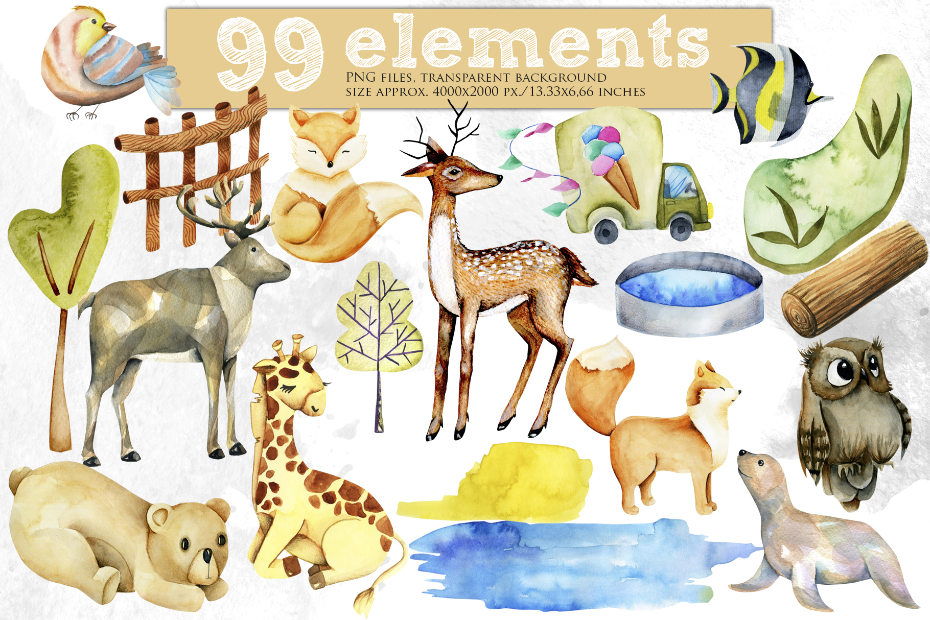 Zoo. Big watercolor collection. example image 5