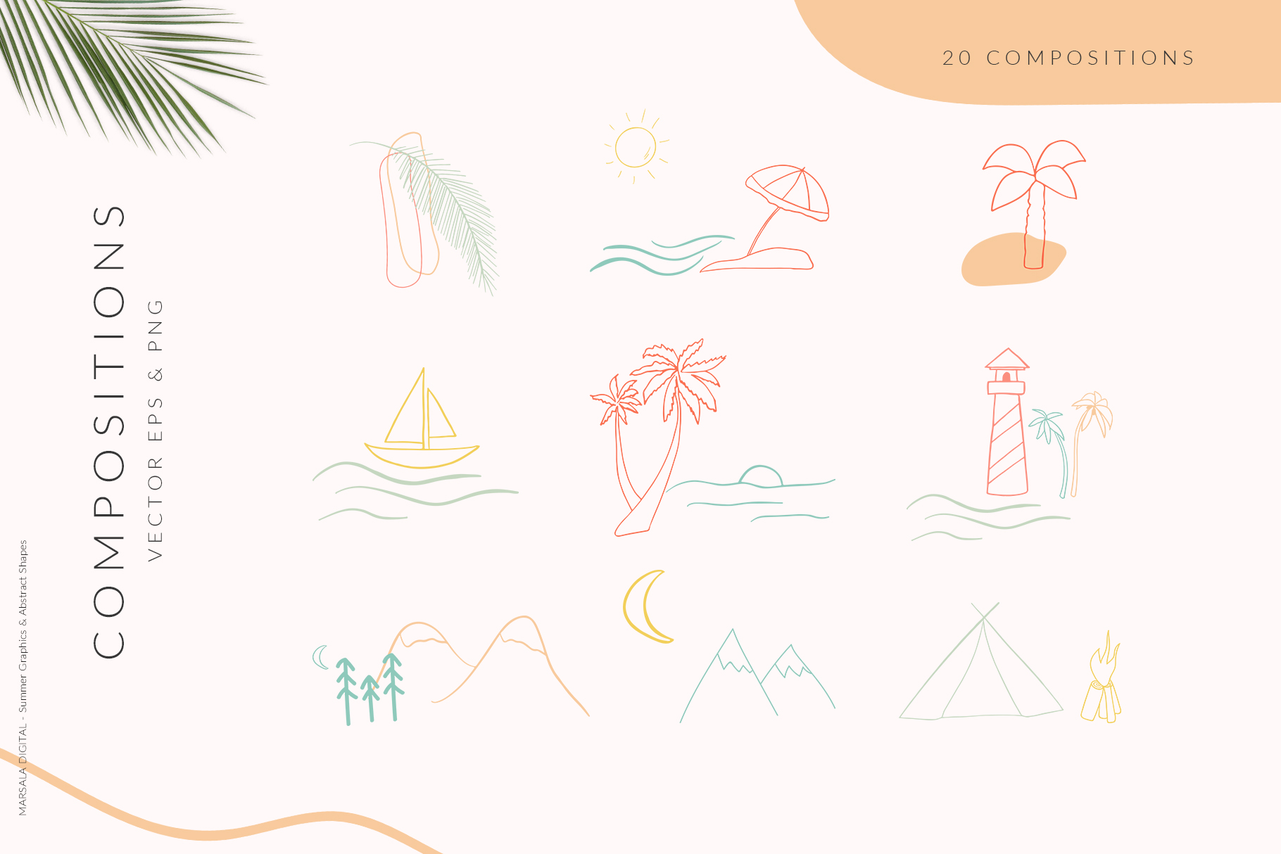 Abstract Shapes & Summer Line Art Vector Cliparts example image 3