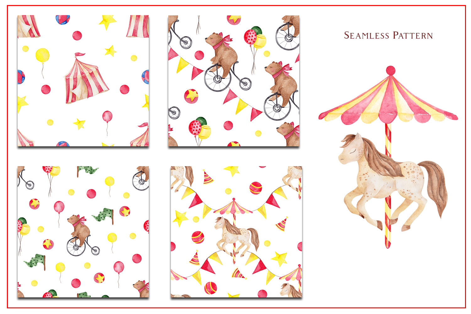 Circus. Watercolor clipart example image 4