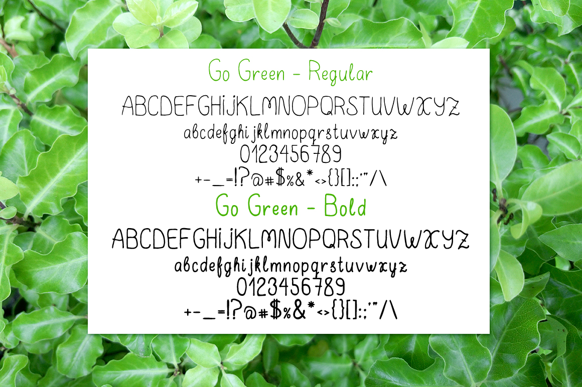 Go Green - handdrawn font example image 5