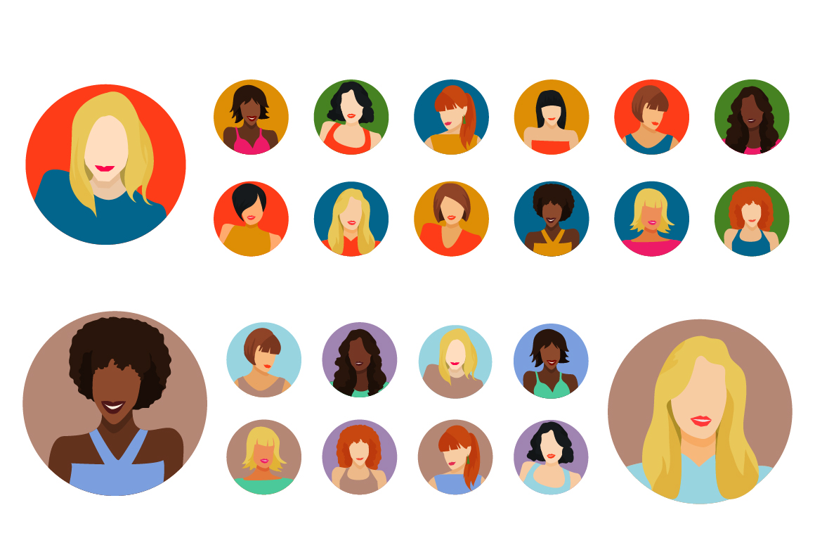 Vector Female avatars set 52 icons example image 2
