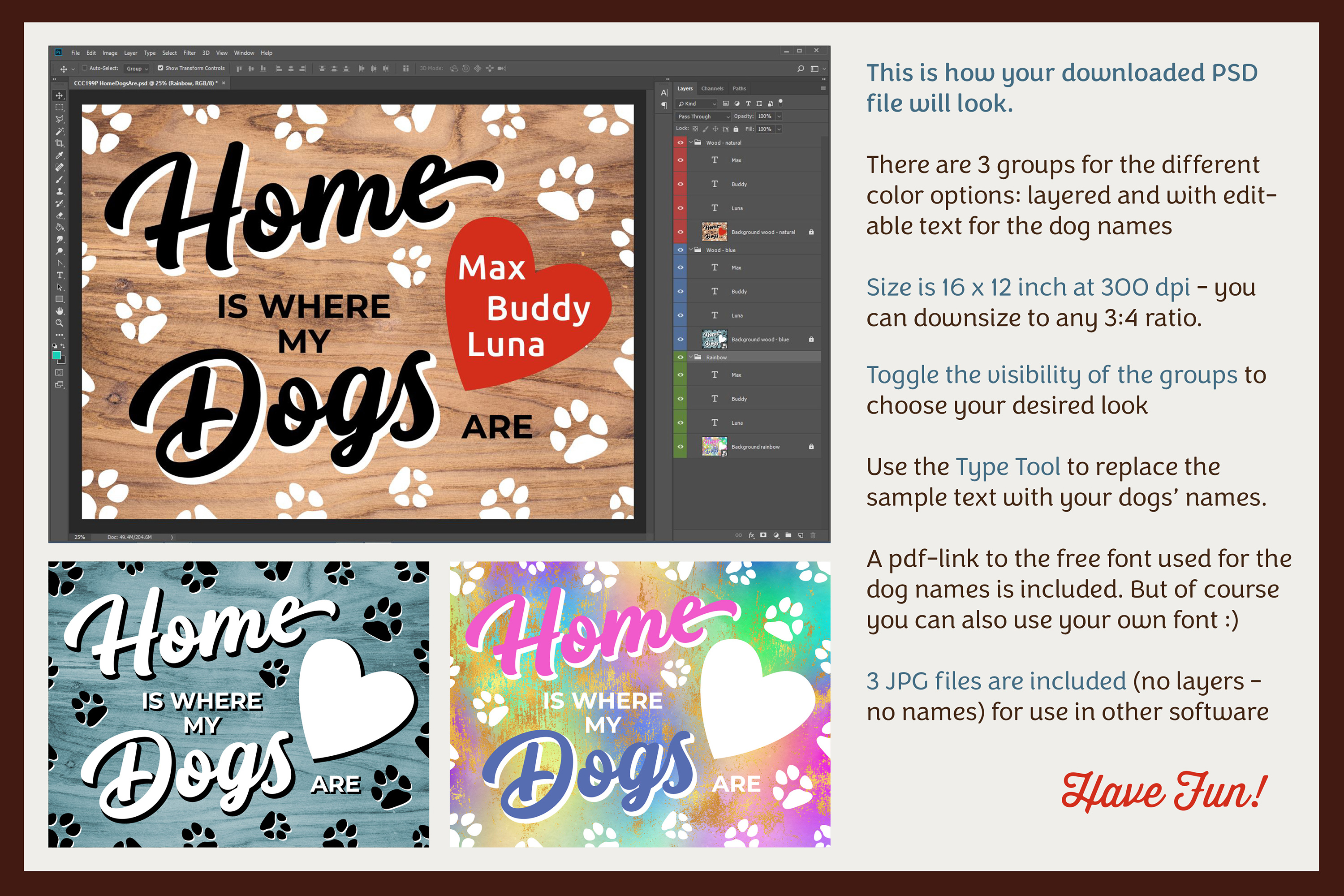 HOME WHERE MY DOGS ARE Printable Editable Photoshop TEMPLATE example image 3