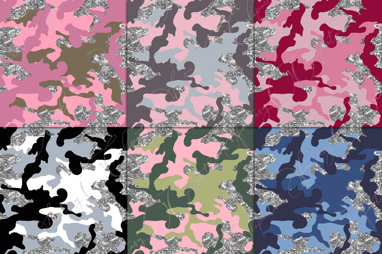 Camo & Silver Glitter Digital Paper example image 3