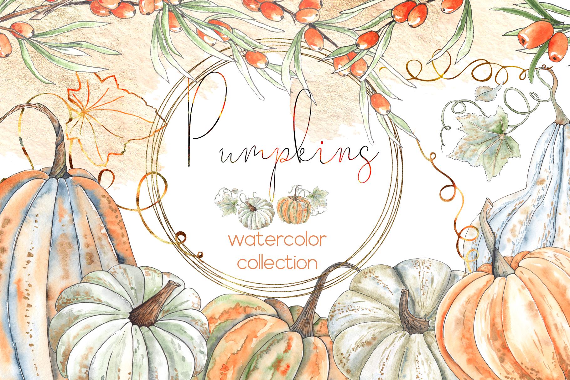 Watercolor autumn BUNDLE example image 11