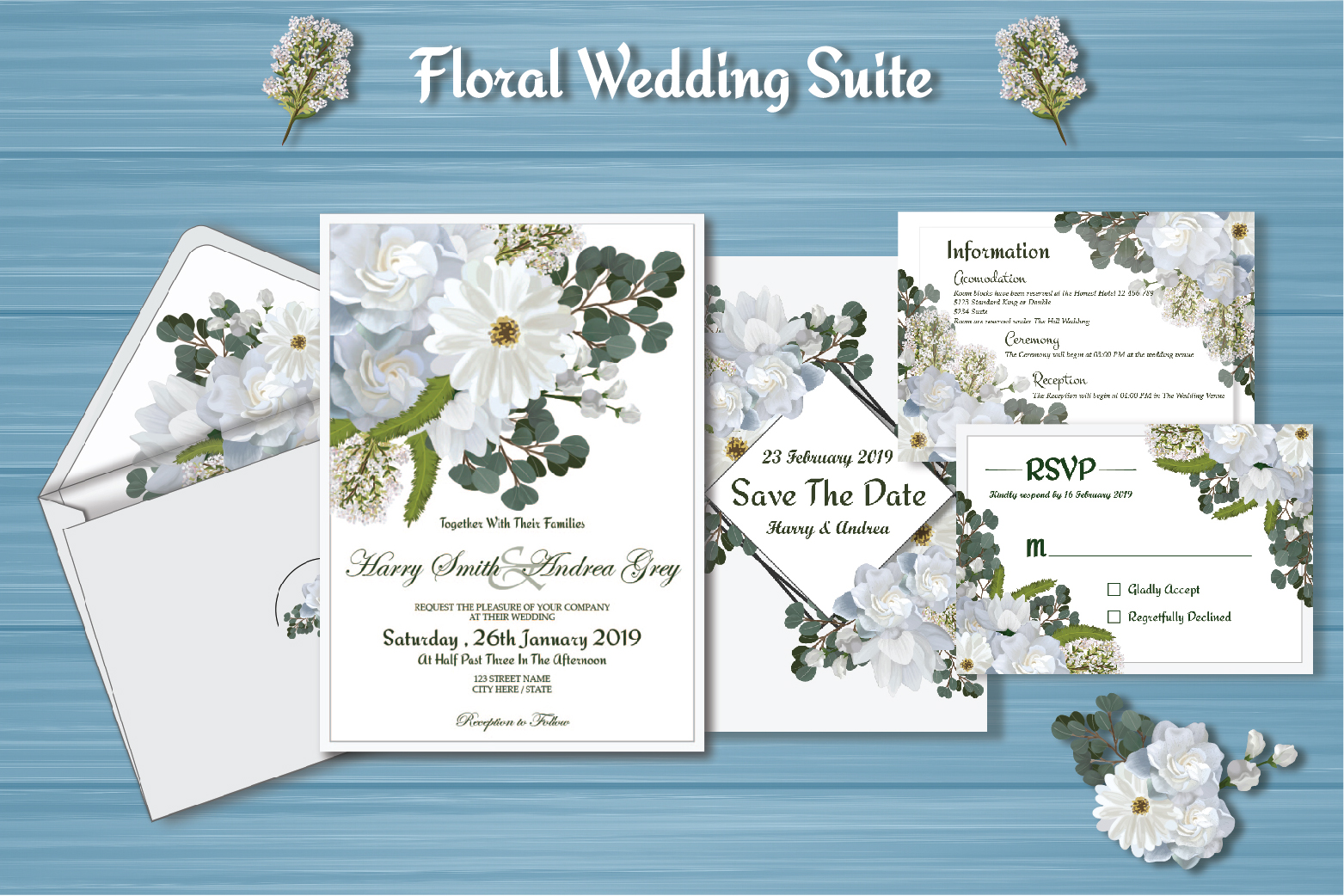 White Floral Wedding Invitation Suite example image 2