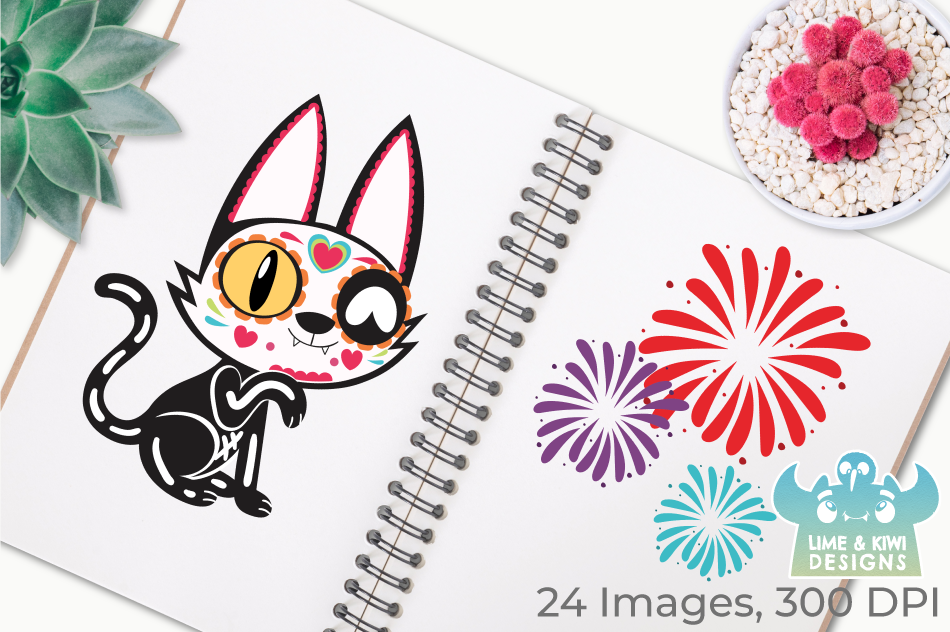 Sugar Skulls Day of the Dead Cats Clipart, Instant Download example image 3