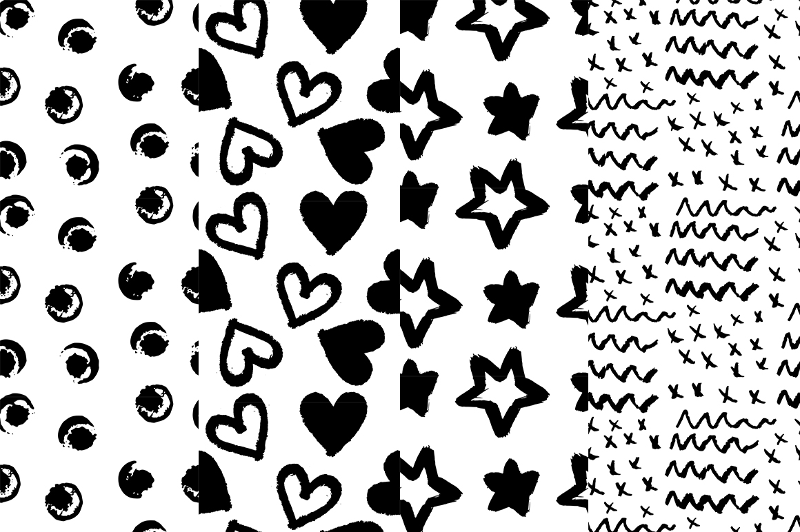 37 monochrome patterns. Hand drawn seamless backgrounds. example image 8