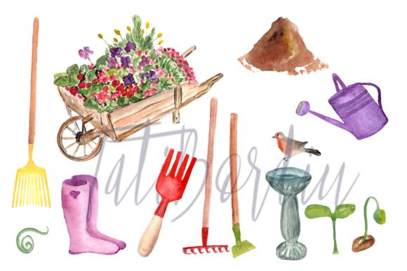 23 Watercolor Garden Clip Art example image 3