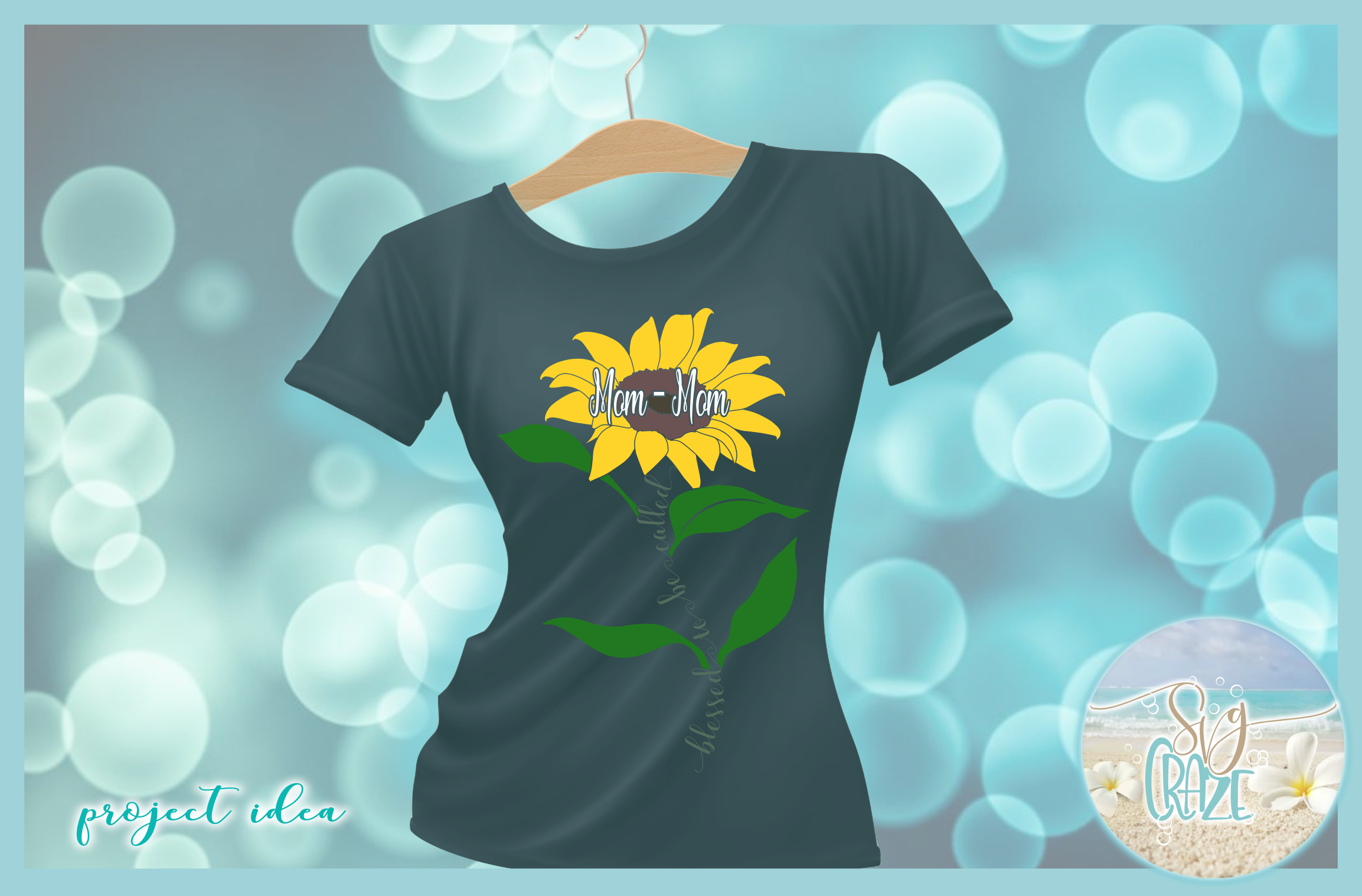 Blessed To Be Called Mom-Mom Quote with Sunflower SVG example image 2