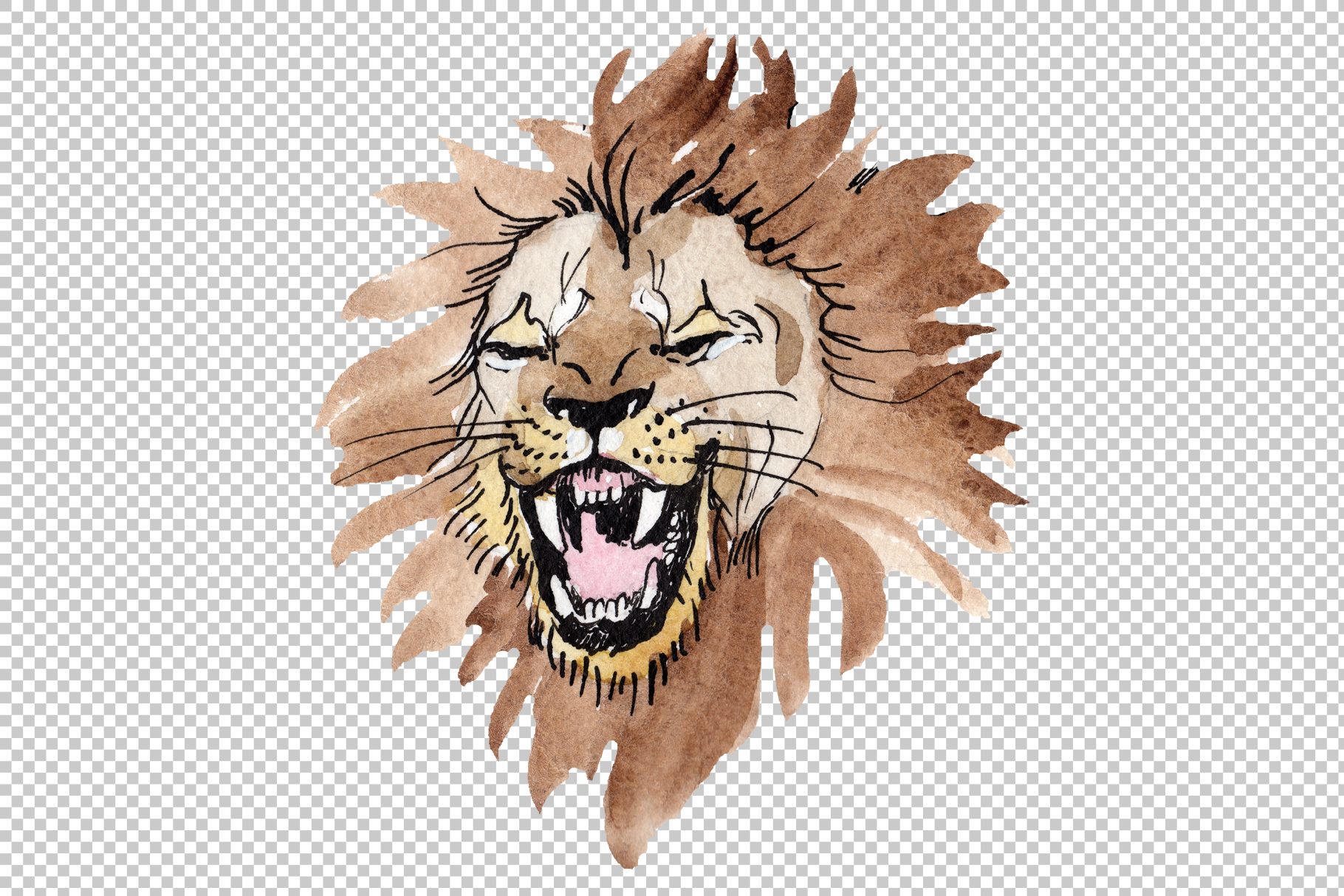 Animal Lion Watercolor png example image 5