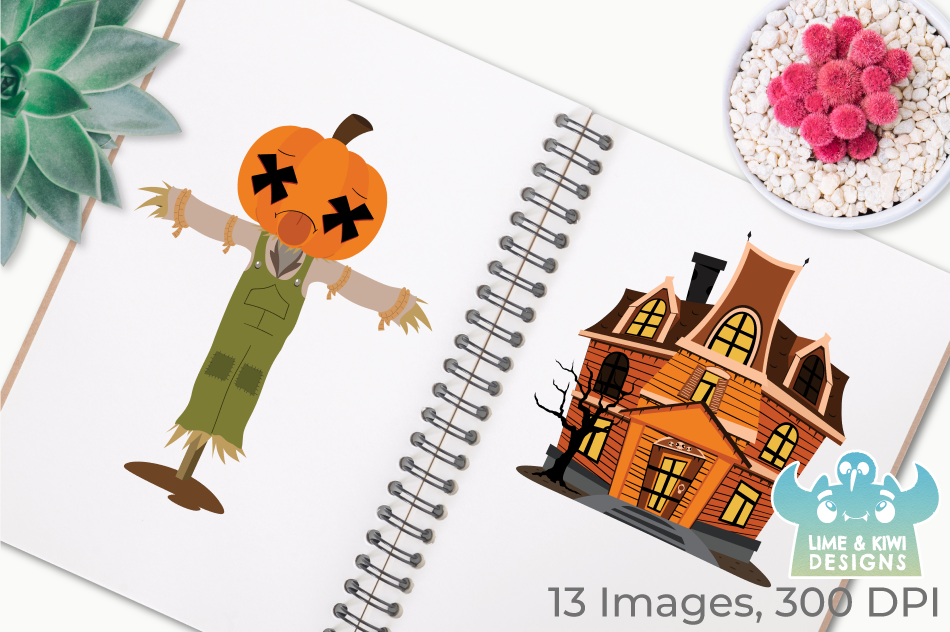 Costume Pumpkins Digital Clipart, Instant Download Vector example image 3