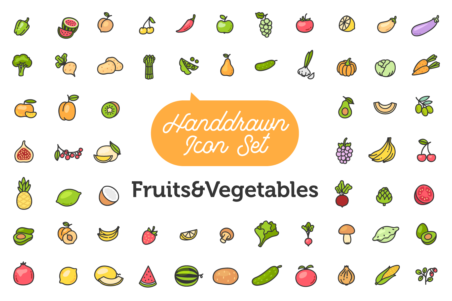 Fruits&Vegetables Icon Set example image 1