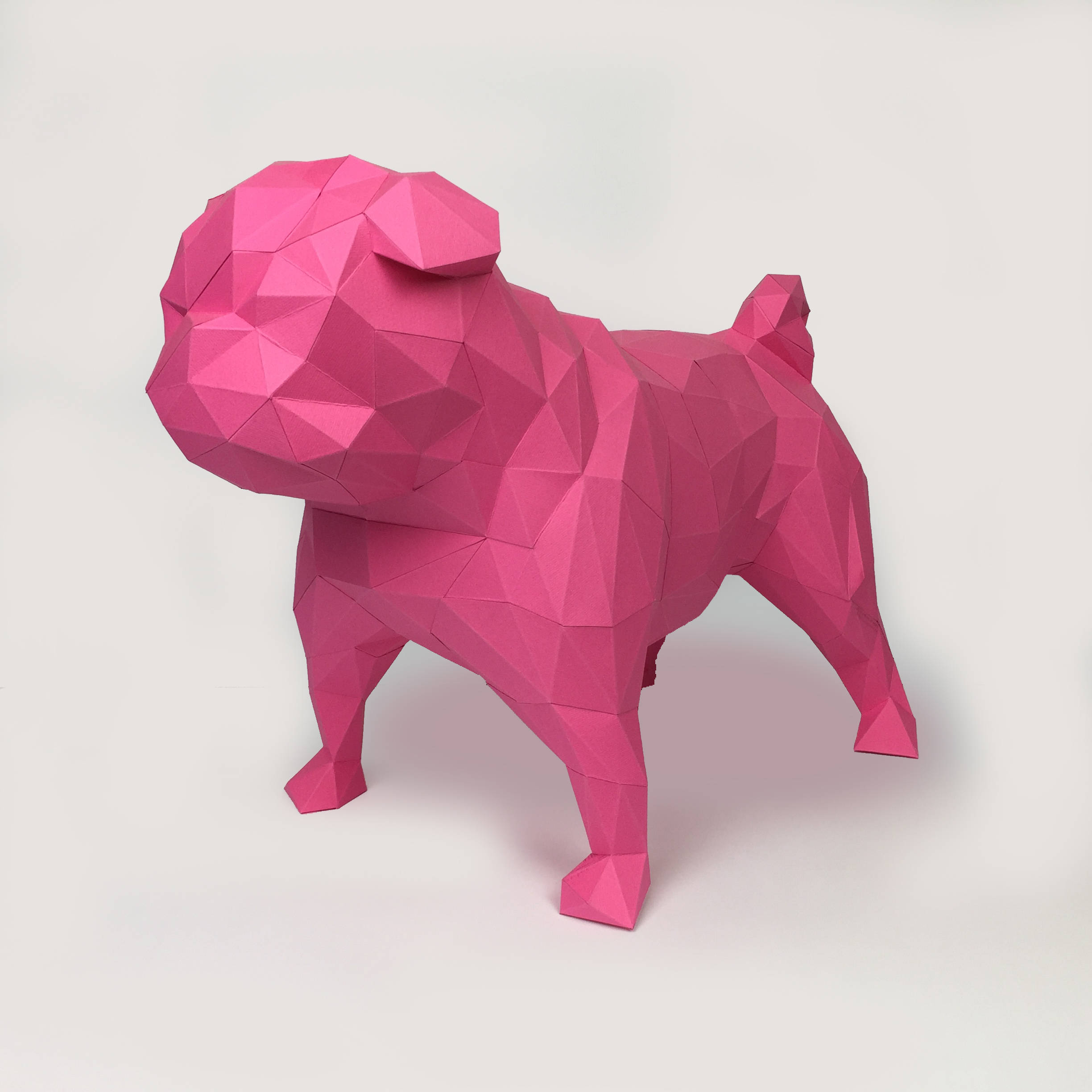 Pug Dog Papercraft, Paper Pug, Dog Statue, Puppy Pug, Paper Animals, Papertoy, Home Decor, Pug Dog, 3D papercraft model, lowpoly DIY, hobby example image 2