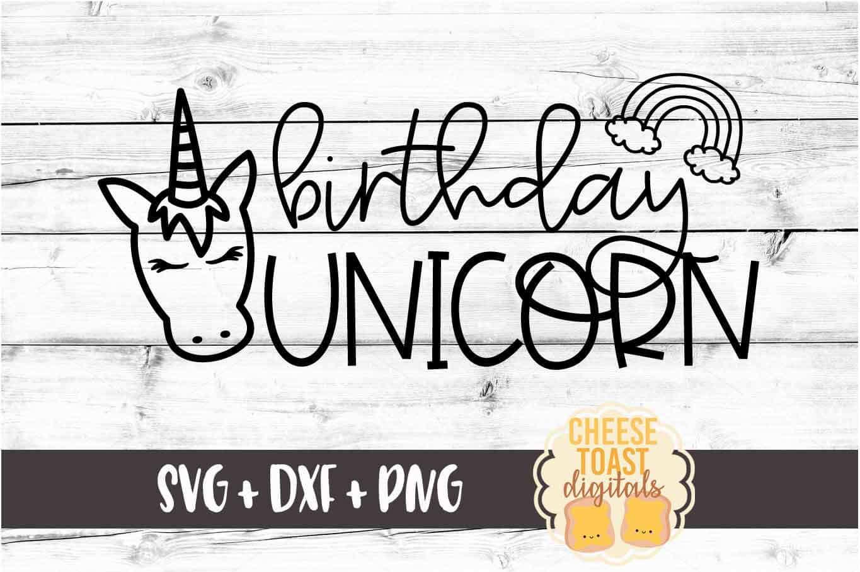 Birthday Unicorn - Unicorn SVG PNG DXF Cut Files