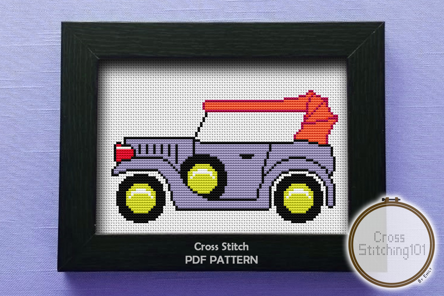 Vintage Car Cross Stitch Pattern - Instant Download PDF example image 1